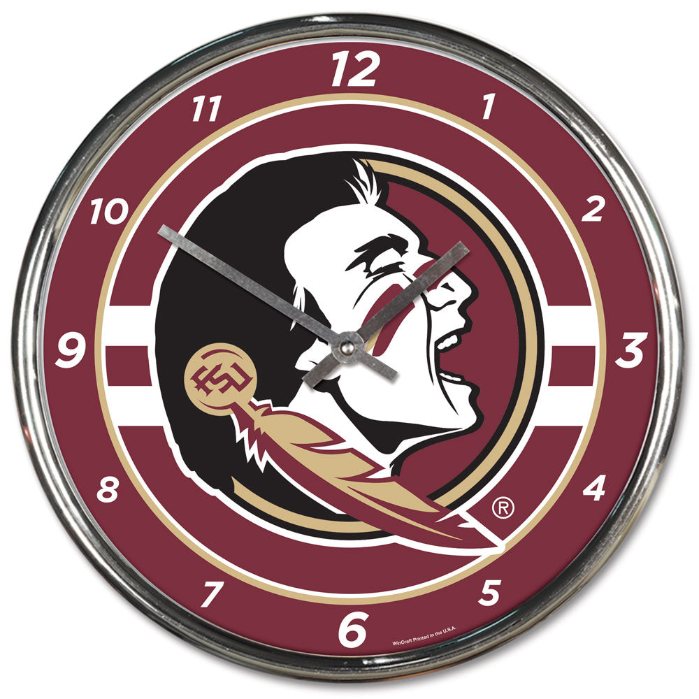 Florida State Seminoles Round Chrome Wall Clock
