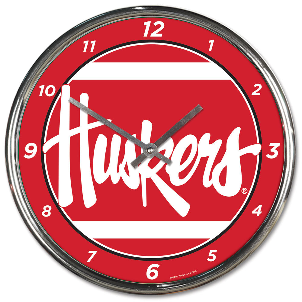 Nebraska Cornhuskers Round Chrome Wall Clock