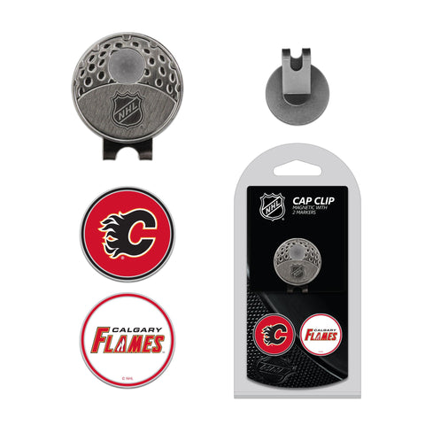 Calgary Flames Cap Clip With 2 Golf Ball Markers