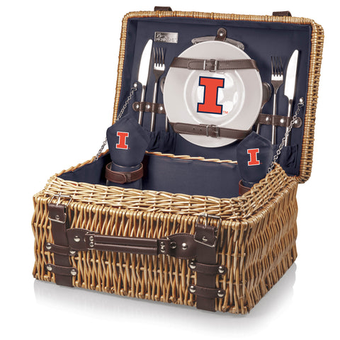 Illinois Fighting Illini 'Champion' Picnic Basket-Navy Digital Print