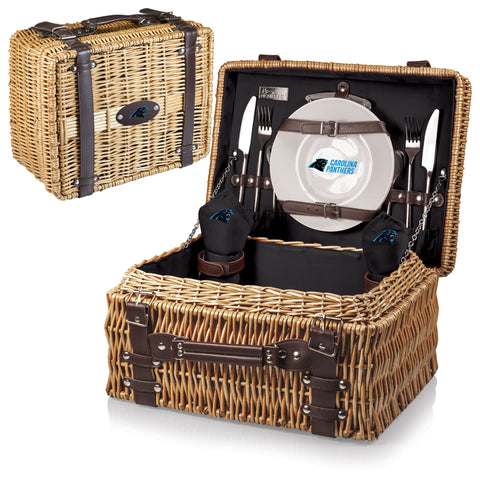 Carolina Panthers 'Champion' Picnic Basket-Black Digital Print