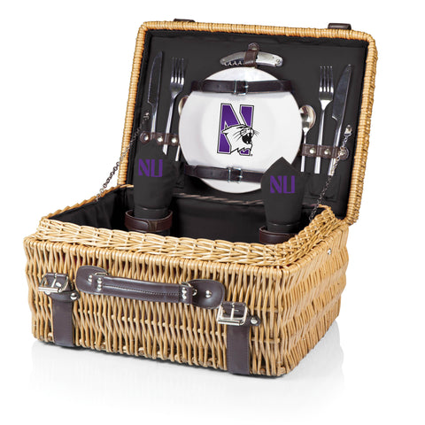Northwestern Wildcats 'Champion' Picnic Basket-Black Digital Print