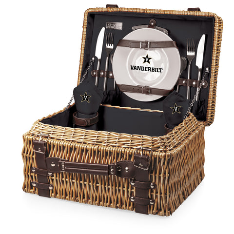 Vanderbilt Commodores 'Champion' Picnic Basket-Black Digital Print