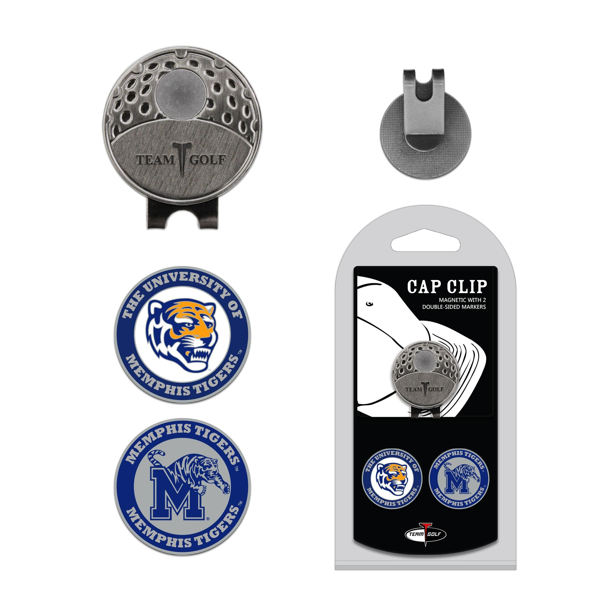 Memphis Tigers Cap Clip With 2 Golf Ball Markers