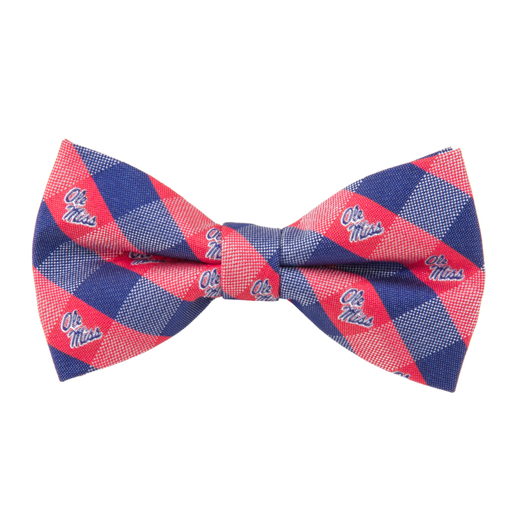 Ole Miss Rebels Check Style Bow Tie