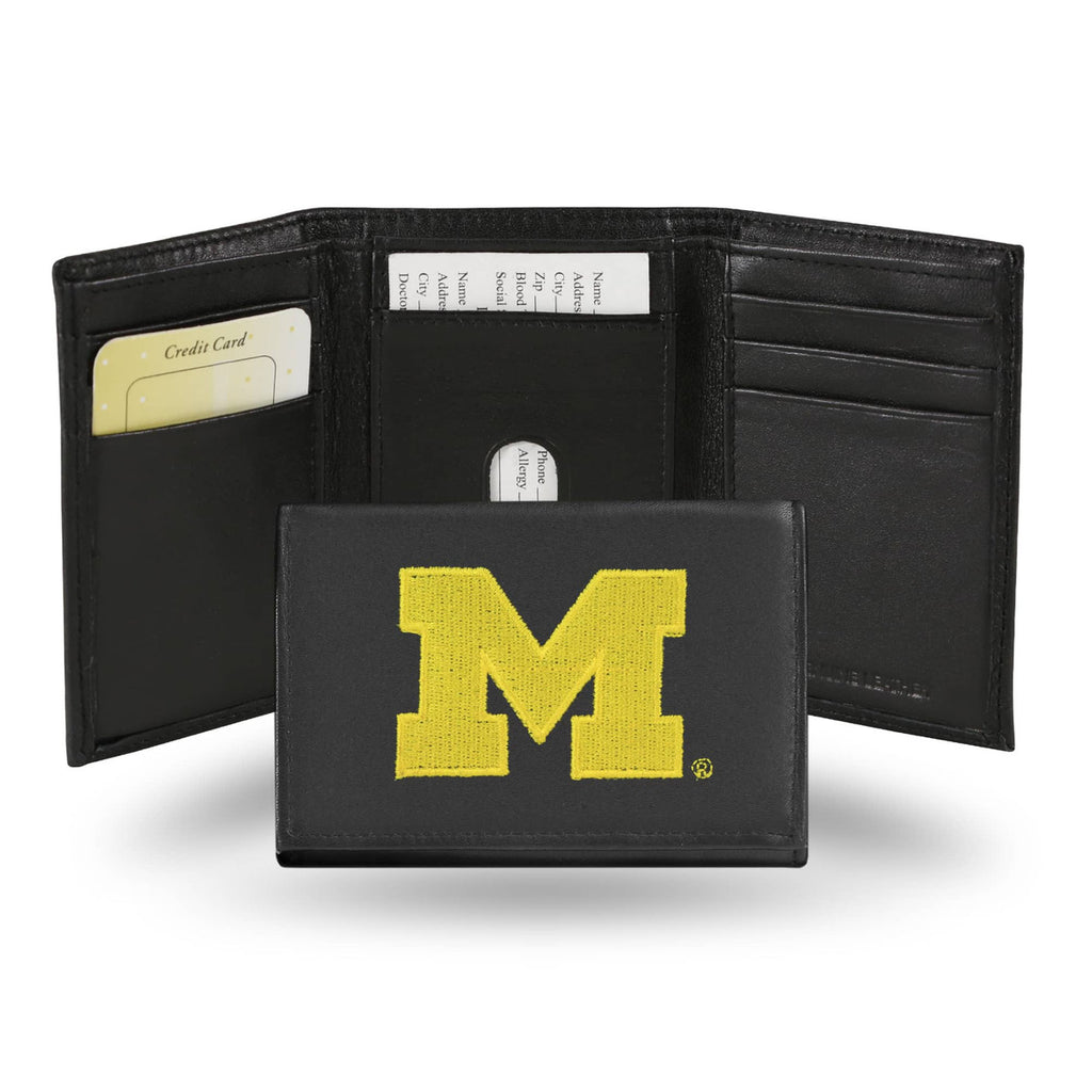 Michigan Wolverines Embroidered Leather Tri-Fold Wallet
