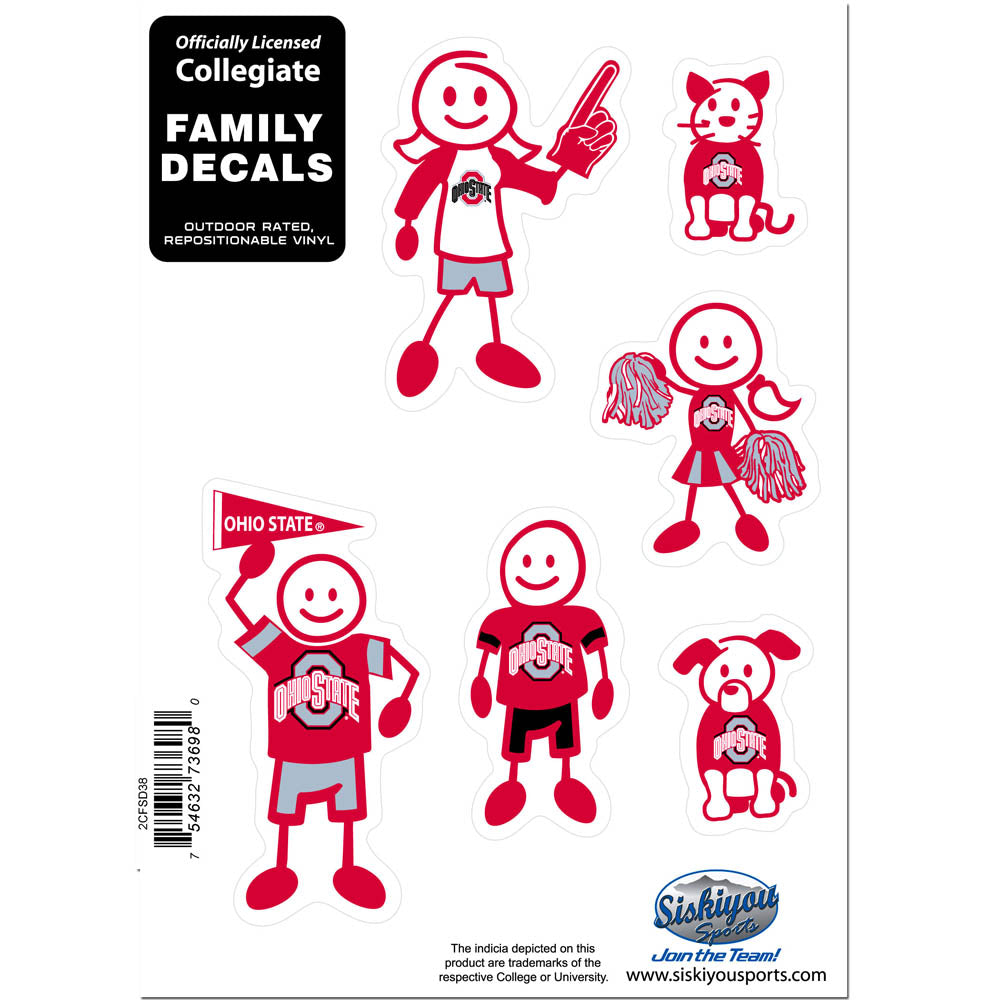 Ohio St. Buckeyes Family Decal Set - Small