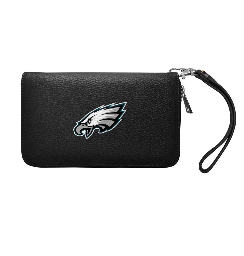 Philadelphia Eagles Zip Organizer Wallet Pebble - Black
