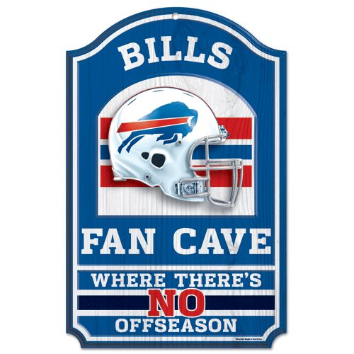 "Buffalo Bills Wood Sign - 11""x17"" Fan Cave Design"