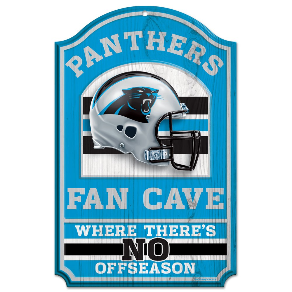 "Carolina Panthers Wood Sign - 11""x17"" Fan Cave Design"