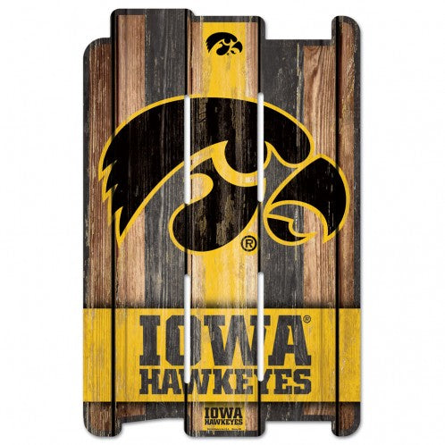 Iowa Hawkeyes Wood Fence Sign