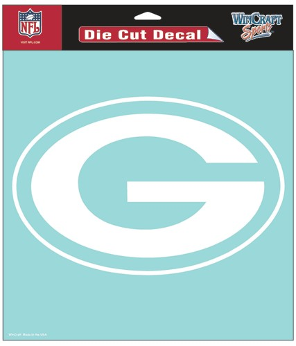 "Green Bay Packers Large Die-Cut Decal - 8""x8"" White"