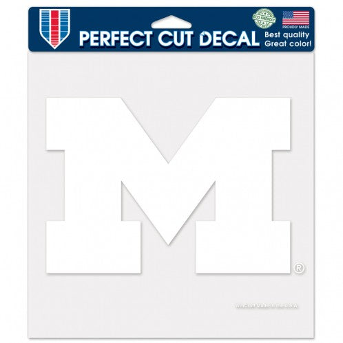 "Michigan Wolverines Large Die-Cut Decal - 8""x8"" White"