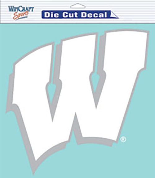 "Wisconsin Badgers Large Die-Cut Decal - 8""x8"" White"