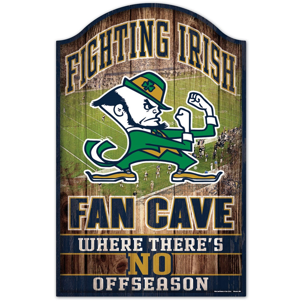 "Notre Dame Fighting Irish Wood Sign - 11""x17"" Fan Cave Design"