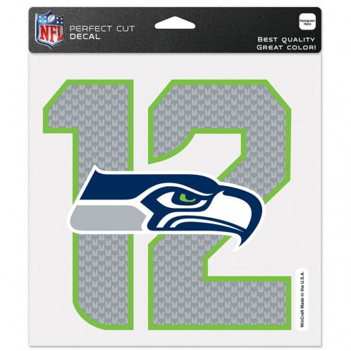 Seattle Seahawks 8x8 Perfect Cut Color Decal (12th Man)