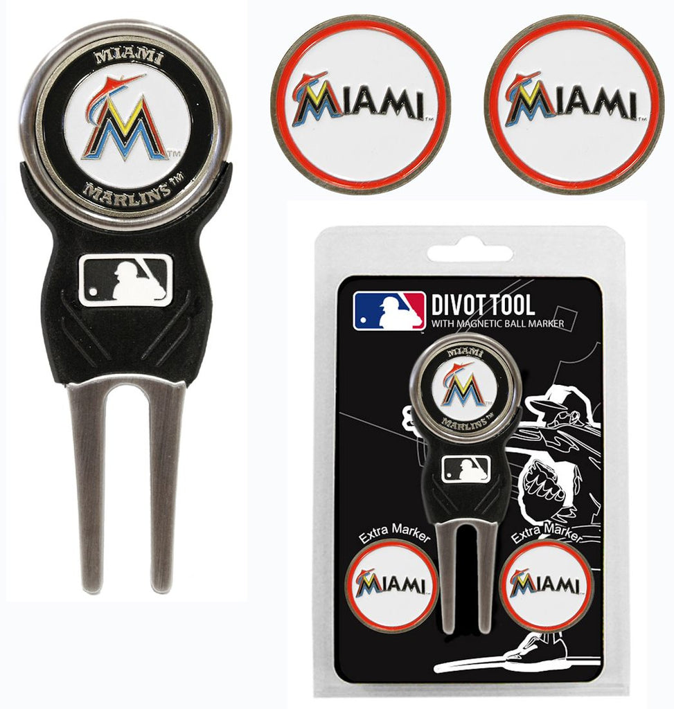 Miami Marlins Golf Divot Tool with 3 Markers