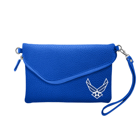 Air Force Falcons Fold Over Crossbody Pebble - Royal