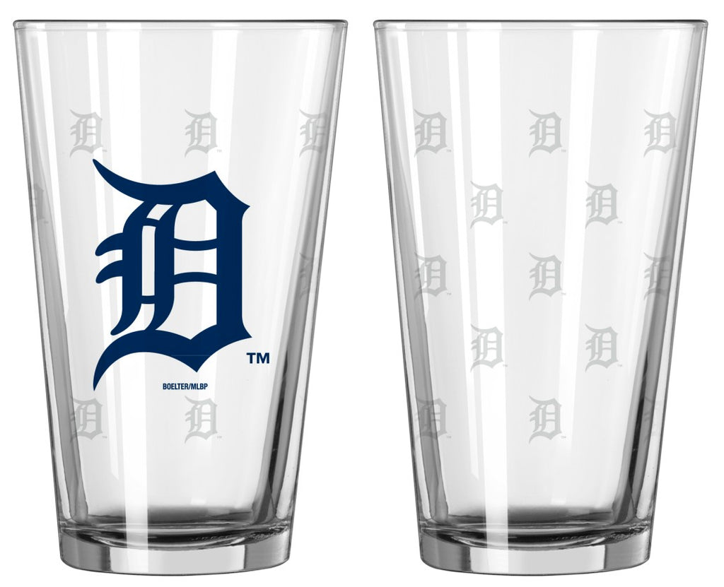 Detroit Tigers Satin Etch Pint Glass Set of 2