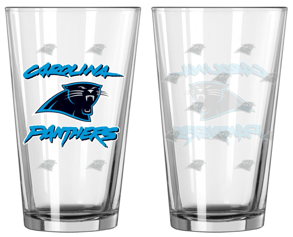 Carolina Panthers Satin Etch Pint Glass Set of 2