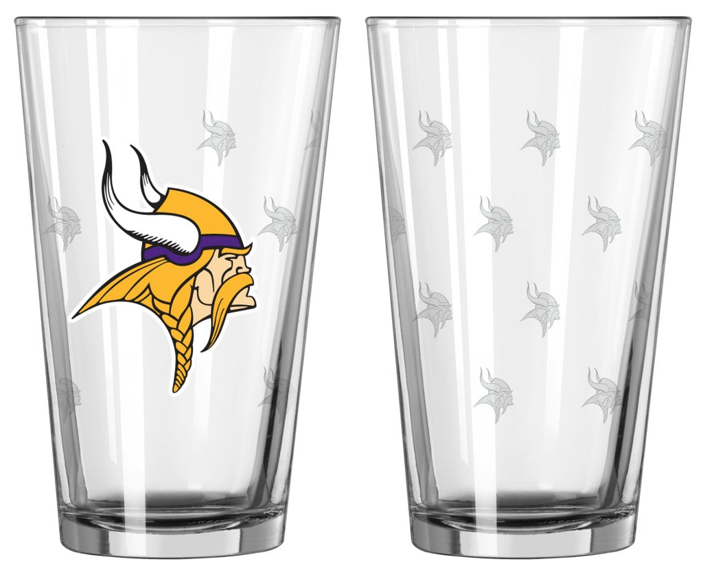 Minnesota Vikings Satin Etch Pint Glass Set of 2