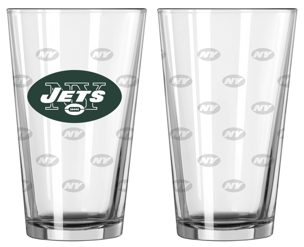 New York Jets Satin Etch Pint Glass Set of 2