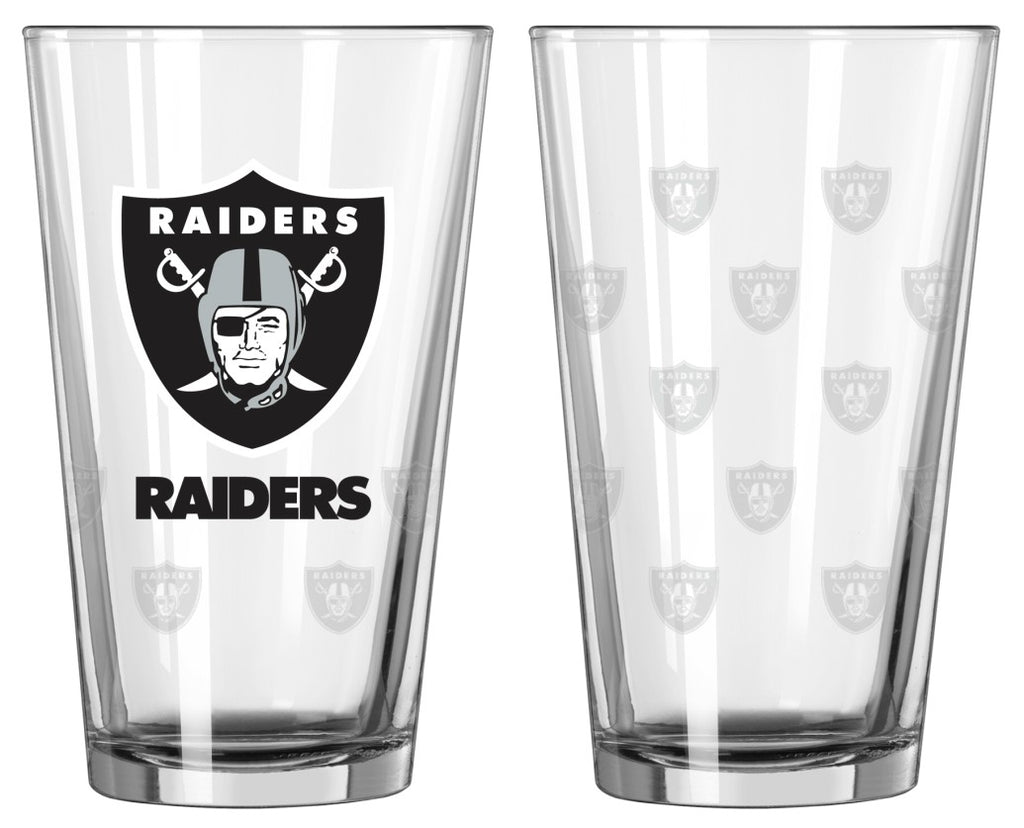 Raiders Satin Etch Pint Glass Set of 2