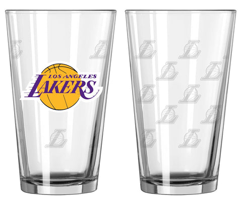 Los Angeles Lakers Satin Etch Pint Glass Set of 2