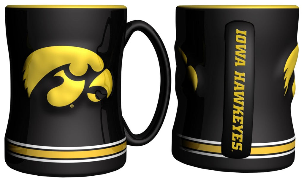 Iowa Hawkeyes 3D Coffee Mug - 14oz Sculpted Relief