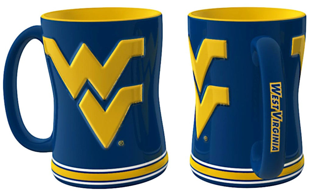 West Virginia Mountaineers 3D Coffee Mug - 14oz Sculpted Relief