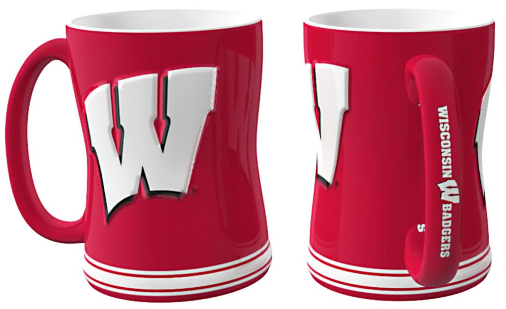Wisconsin Badgers 3D Coffee Mug - 14oz Sculpted Relief