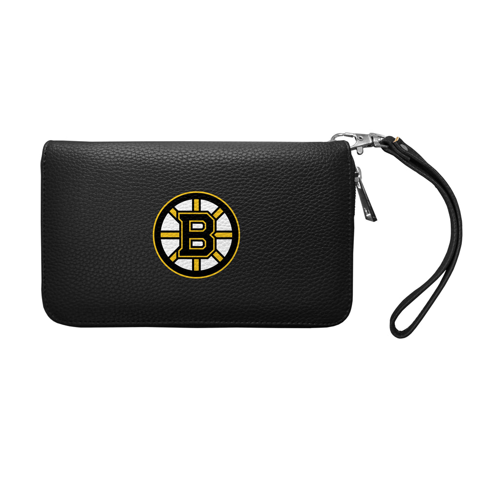 Boston Bruins Zip Organizer Wallet Pebble - Black