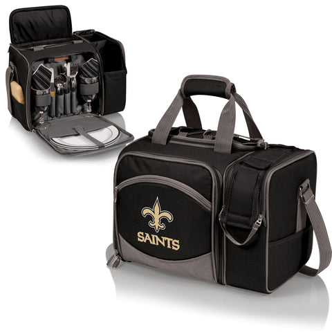 New Orleans Saints 'Malibu' Picnic Cooler Tote-Black Digital Print