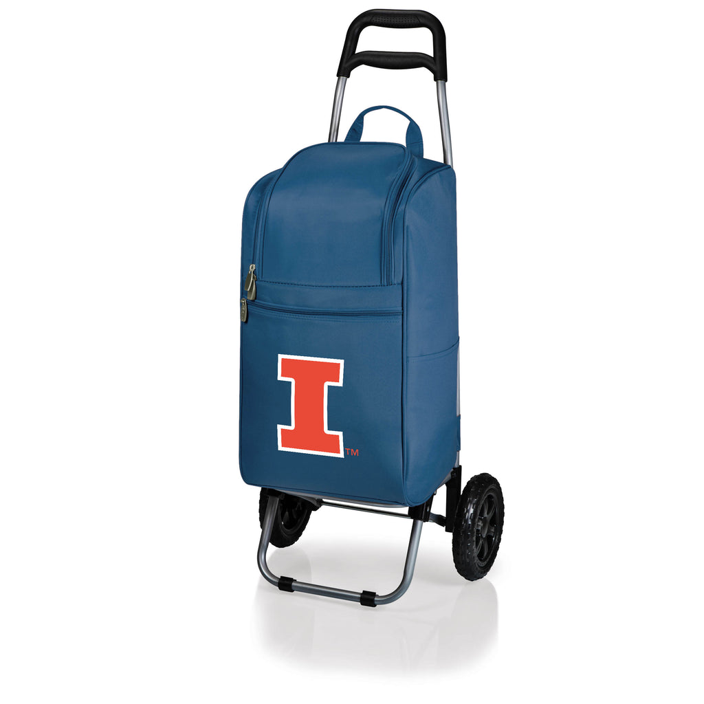 Illinois Fighting Illini Cart Cooler with Trolley-Navy Digital Print