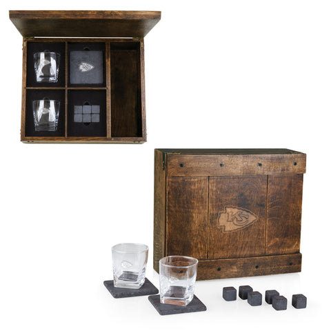 Kansas City Chiefs 'Whiskey Box' Gift Set-Oak Laser Engraving