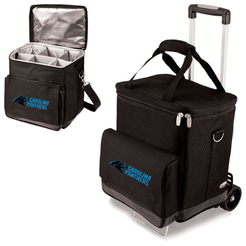 Carolina Panthers 'Cellar' 6-Bottle Wine Carrier & Cooler Tote with Trolley-Black Digital Print