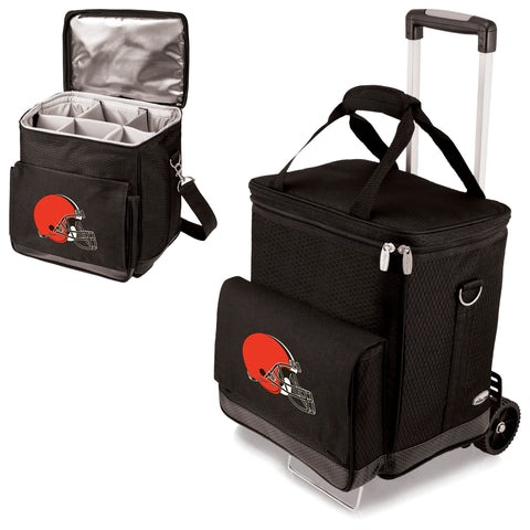 Cleveland Browns 'Cellar' 6-Bottle Wine Carrier & Cooler Tote with Trolley-Black Digital Print
