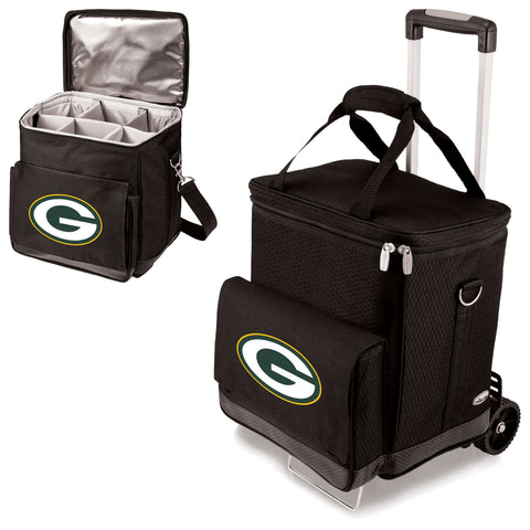 Green Bay Packers 'Cellar' 6-Bottle Wine Carrier & Cooler Tote with Trolley-Black Digital Print