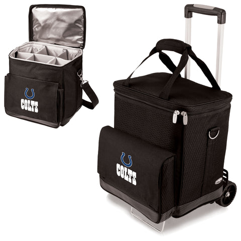 Indianapolis Colts 'Cellar' 6-Bottle Wine Carrier & Cooler Tote with Trolley-Black Digital Print