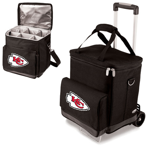 Kansas City Chiefs 'Cellar' 6-Bottle Wine Carrier & Cooler Tote with Trolley-Black Digital Print