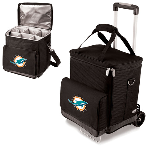 Miami Dolphins 'Cellar' 6-Bottle Wine Carrier & Cooler Tote with Trolley-Black Digital Print