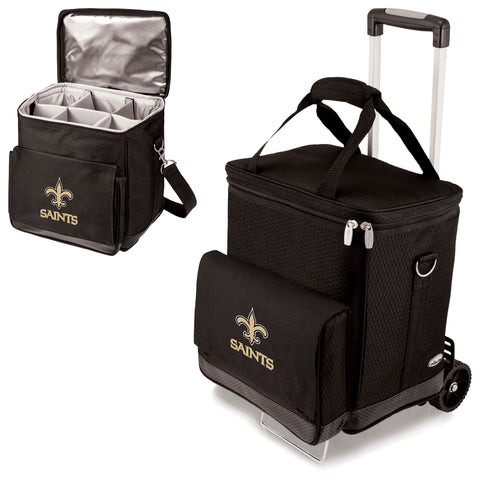 New Orleans Saints 'Cellar' 6-Bottle Wine Carrier & Cooler Tote with Trolley-Black Digital Print