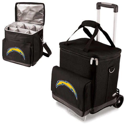 Los Angeles Chargers 'Cellar' 6-Bottle Wine Carrier & Cooler Tote with Trolley-Black Digital Print