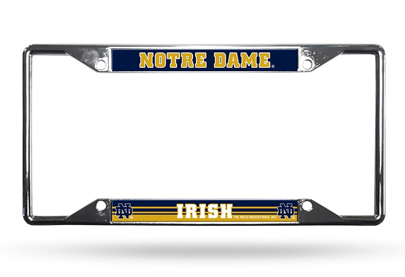 Notre Dame Fighting Irish License Plate Frame Chrome EZ View
