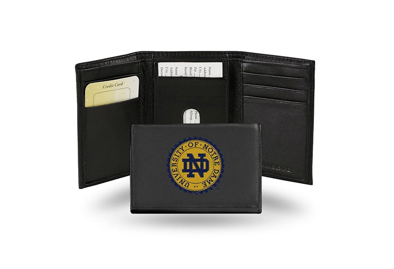 Notre Dame Fighting Irish Wallet Trifold Leather Embroidered
