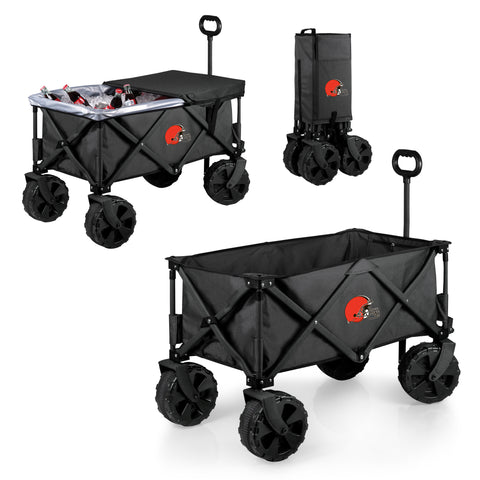 Cleveland Browns 'Adventure Wagon Elite All-Terrain' Folding Utility Wagon-Dark Grey Digital Print
