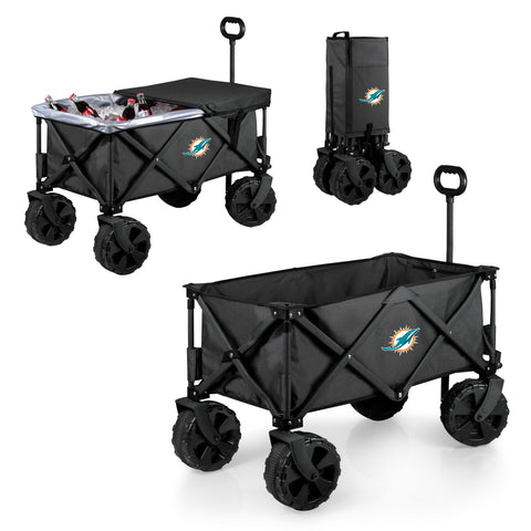 Miami Dolphins 'Adventure Wagon Elite All-Terrain' Folding Utility Wagon-Dark Grey Digital Print