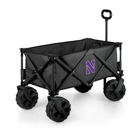 Northwestern Wildcats 'Adventure Wagon Elite All-Terrain' Folding Utility Wagon-Dark Grey Digital Print
