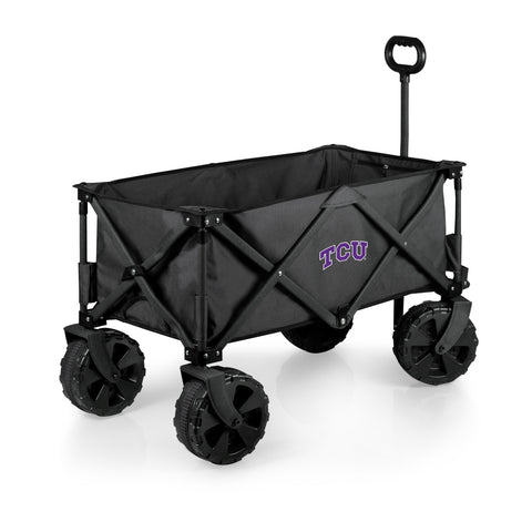 TCU Horned Frogs 'Adventure Wagon Elite All-Terrain' Folding Utility Wagon-Dark Grey Digital Print