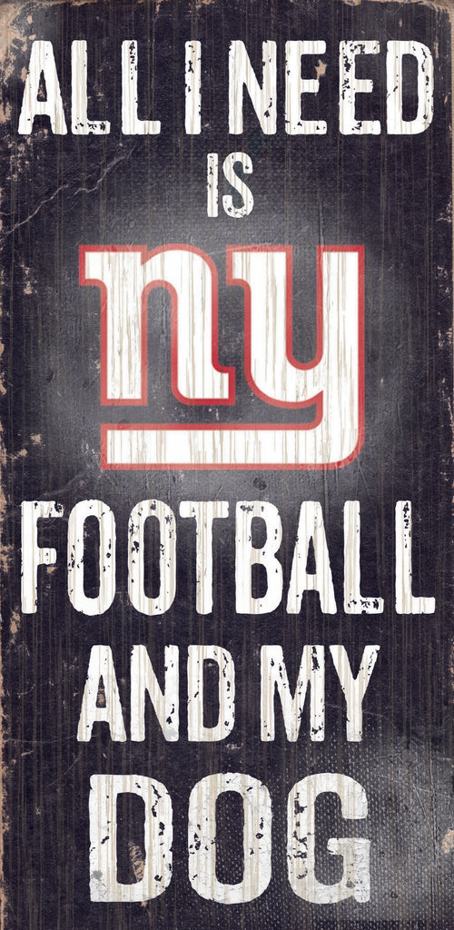"New York Giants Wood Sign - Football and Dog 6""x12"""